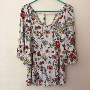 Bobeau White Floral Bell Sleeve Off Shoulder Large